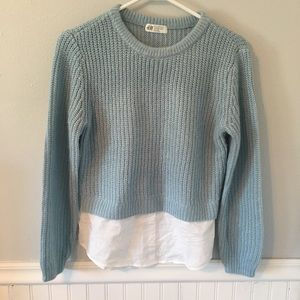 H&M Blue Knitted Sweater Top